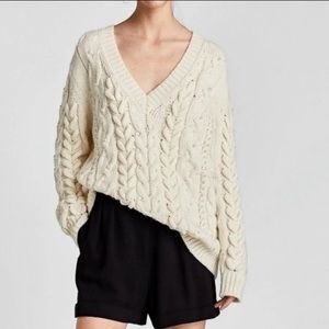 zara chunky cable knit sweater w/ pearls NWT